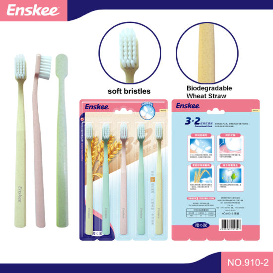 Eco Friendly Biodegradable PLA Handle Bamboo Bristles Adult Toothbrush