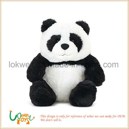 Wholesales Soft Plush Stuffed Fluffy White and Black Panda Toys