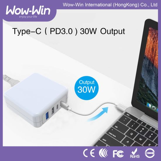 4 Ports 63W Dual Type-C Charger with QC3.0 Power Adaptor pictures & photos
