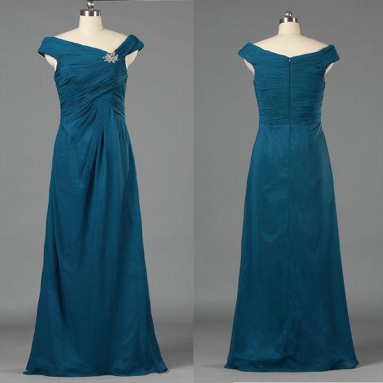 Affordable Teal Blue Long Pleat Chiffon Sleeveless Celebrity Dresses E180