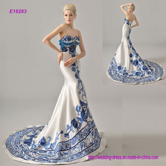 Custom Made Embroidered Blue and White Porcelain Chinese Style ...
