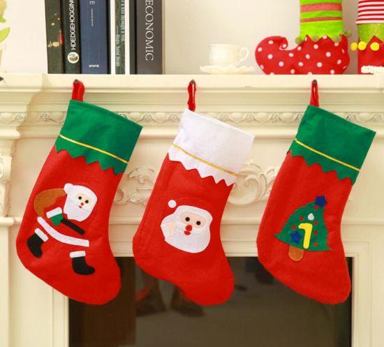 China High Quality Xmas Santa Christmas Stocking Socks