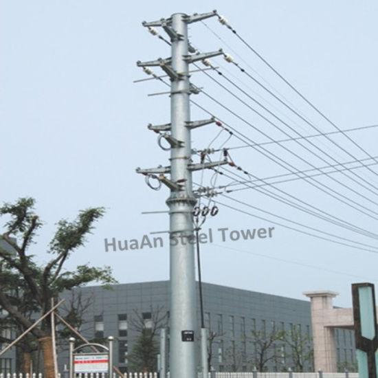 Electric Power Transmission Galvanized Steel Iron Tube Pole