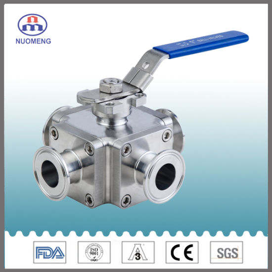 3A Sanitary Stainless Steel SS304/316L Clamp Square Ball Valve with Three Pipe Channel Rq2256