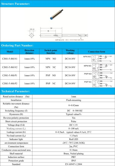 China Flush Npn Nc 3 Wire M5 4 Inductive Proximity Sensor Switch