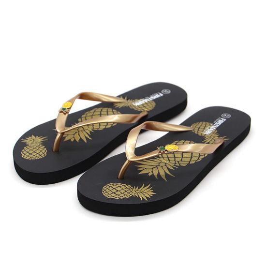 2019 Black Rubber Pretty Print Pineapple Flip Slippers