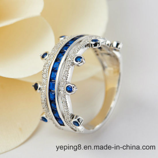 Crown Design Blue Sapphire Ring - 001 pictures & photos