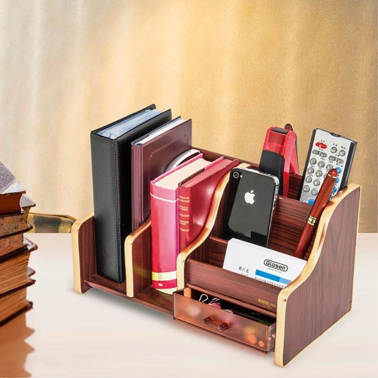 Large Capacity Wooden Desk Organizer With File Rack And Drawer