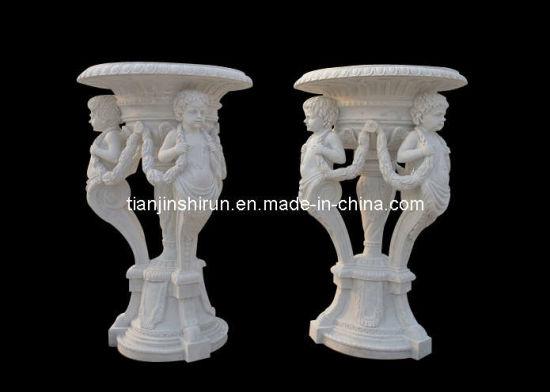 White Marble Angle Sculpture Flower Pot (VS301)