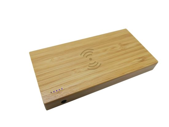 August Preferential Low Price! Eco-Friendly Bamboo Wireless Power Bank 5000mAh with Dual USB Output