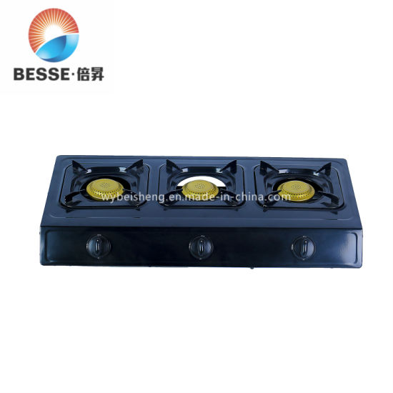 Zgbes Black Stainless Steel Gas Cooker with 3 Golden Burners (ZG-3092BR)
