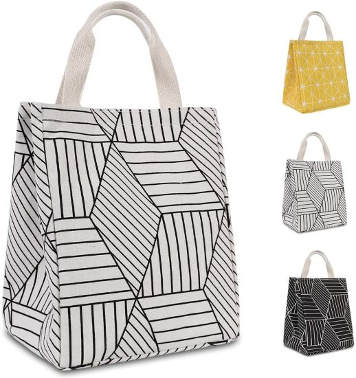 Wholesale Geometric Pattern White Reusable Printed Canvas Fabric Thermal Insulated Waterproof Aluminum Foil Lunch Bags.