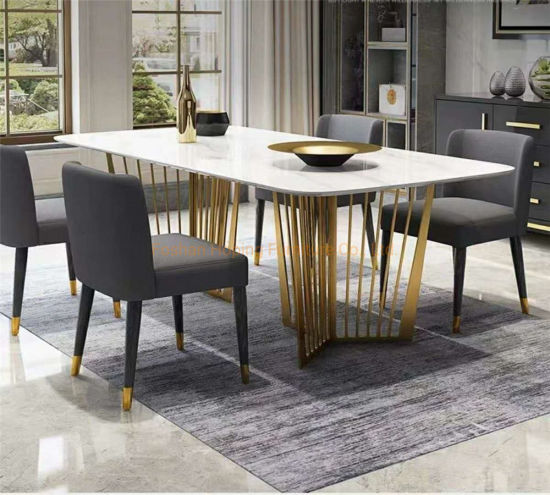 China Large Marble Dining Table For Home Restaurant 1 6 Set White Square Dining Table Set With Leather Chair China Home Furniture Cake Table