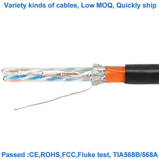 CAT6A Fftp 23AWG LSZH Od7.2mm Patch Cord Twisted Pair Shielded Cable