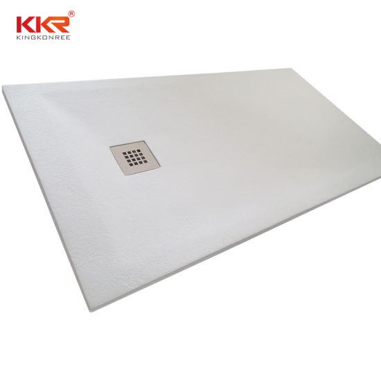 Kkr White and Black Bathroom Sanitary Ware Shower Base Artificial Stone Shower Tray