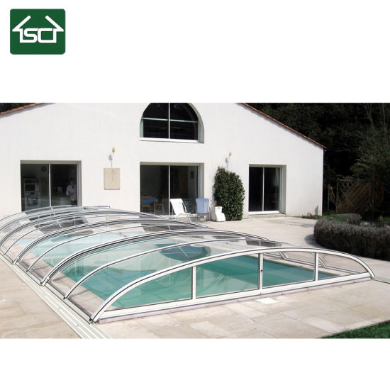 Retractable Swimming Pool Enclosure with Powder Finish for in-Ground Pool