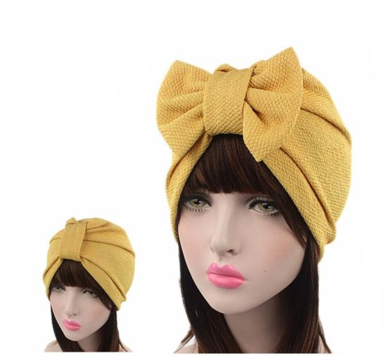 New Large Bow-Knot Turban Cap Indian Hat European and American Fashion Headwear