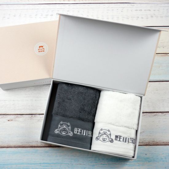 100% Cotton Two Color Hand Towel with Embroidery Logo in Gift Box