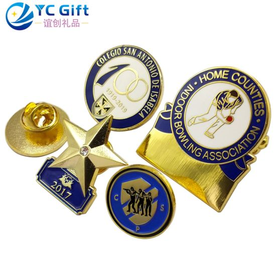 China Maker Custom Metal Crafts Plating Gold Enamel Pentagram Emblem School Sport Souvenir Button Badges Award Army Military Police Lapel Pins with Logo