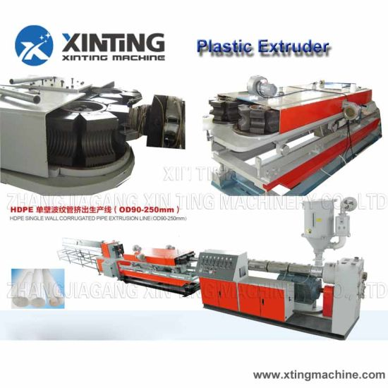 PVC PP PE Single Wall Corrugated Pipe Machinery for Wires and Cable Passing Pipes Extrusion Line