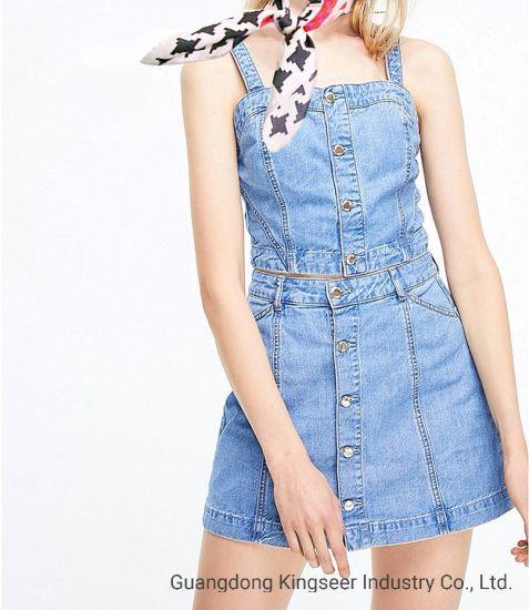 Wholesale New Design Fashion Ladies/Women Denim Suit Clothing Jean Dress