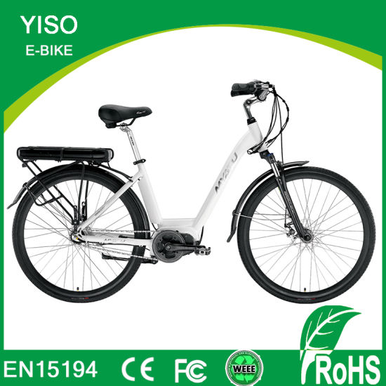 Fashion 27.5 Inch E Bike Electric MID Driver Moped Loading City Bicycle with Rear Rack