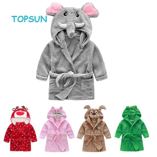 Little Girl's Coral Fleece Bathrobe Unisex Kids Robe Pajamas Baby Clothes