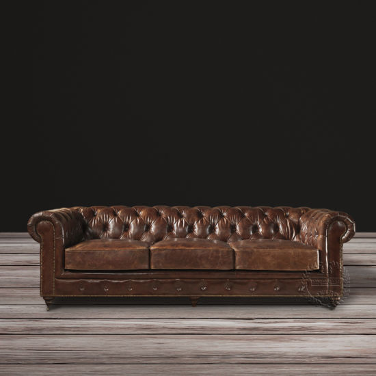 Living Room Leisure Sofa Hotel Leather Wooden Sofa pictures & photos