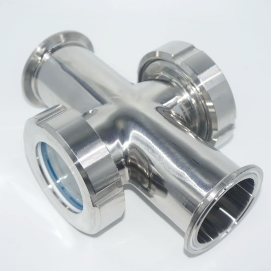 Stainless Steel Pipeline Cross Tempered Reinforced Sight Glass