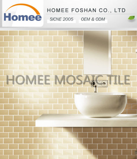 Chinese Factory Price Beige Strip Glass Mosaic Tiles - China