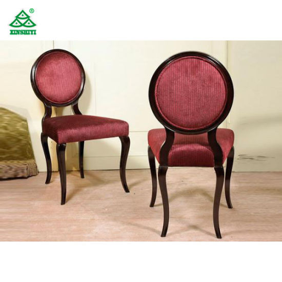 Beige Fabric Upholstered Modern Dining Room Chairs Round Back Sponge Seat