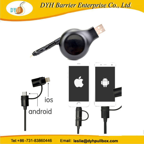 Portable 2 In 1 Retractable Usb Cable Reel For Iphone Android Mobile Phone