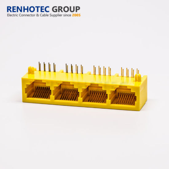 Yellow Colour 4 Port RJ45 Connector for PCB