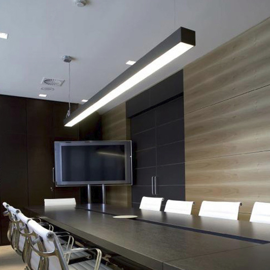 Indoor Hanging Light Commercial LED Linear Pendant Lights For Office Bank  Meeting Room