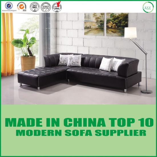 . Modern Living Room L Shape Sectional Orange Leather Sofa