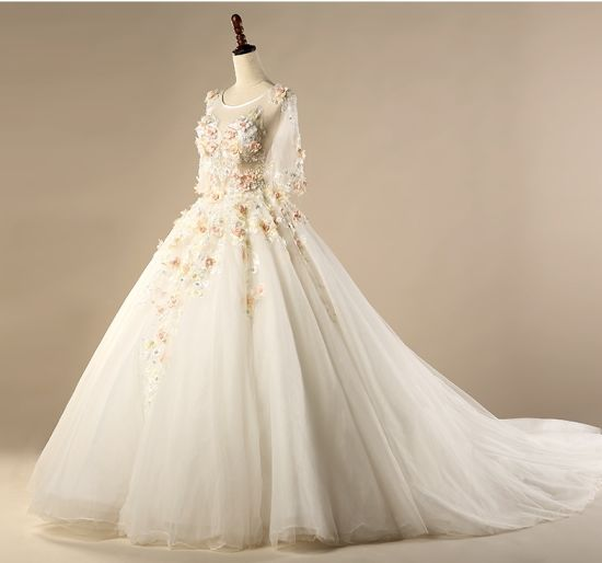 China Lace Bridal Gowns 3/4 Sleeves Coral Foral Wedding Dresses ...