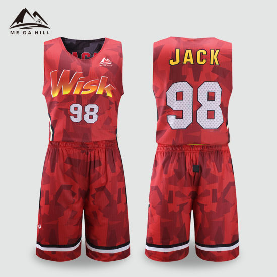 Sublimation Custom Latest Design Blue Red Orange Color Basketball Jersey  Uniform 253d5b294
