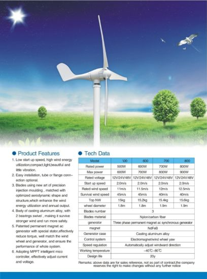 500W 24VDC Potable Wind Generator + Hybrid Charge Controller with Additional 200W Solar Capacity pictures & photos