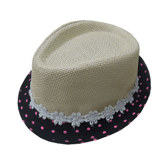 795d4d42b8780 China Custom Black Brim Fashion Summer Fedora Paper Straw Hat Baby ...