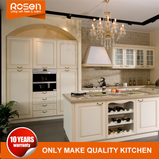 Low Cost Painted White Oak Solid Wood Kitchen Cabinets