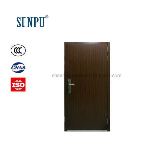 Residential Use Interior Steel Frame with Wooden Veneer Burglar Proof Security Door