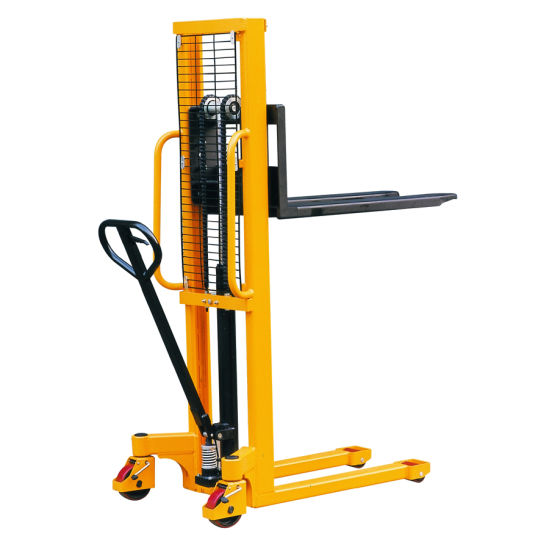 Hydraulic Hand Lifting Stacker with Straddle Leg pictures & photos