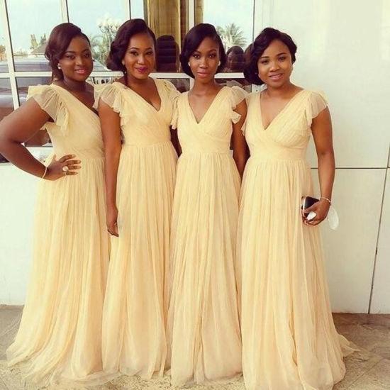 Cap Sleeves Party Prom Dress Yellow Chiffon Long Wedding Bridesmaid Dress Ya172
