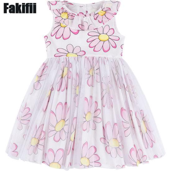 2018 Summer/Spring Fashion Wholesale Children Clothing Infant Garment Flower Birthday Girl Dress