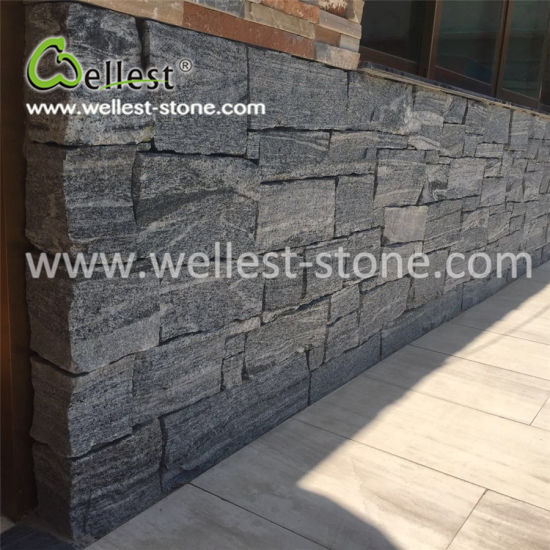 Villa Fence Column Wall Cladding Grey Quartzite Fieldstone Loose Stone pictures & photos