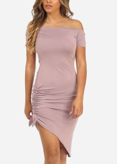 Mauve off-Shoulder Short Sleeve Ruched Side Slit Knee Long Dress