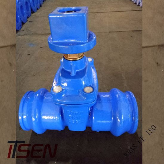Ductile Iron Ggg40/Ggg50 Socket End Gate Valve with Operation Cube Cap for  Buried PVC Pipes