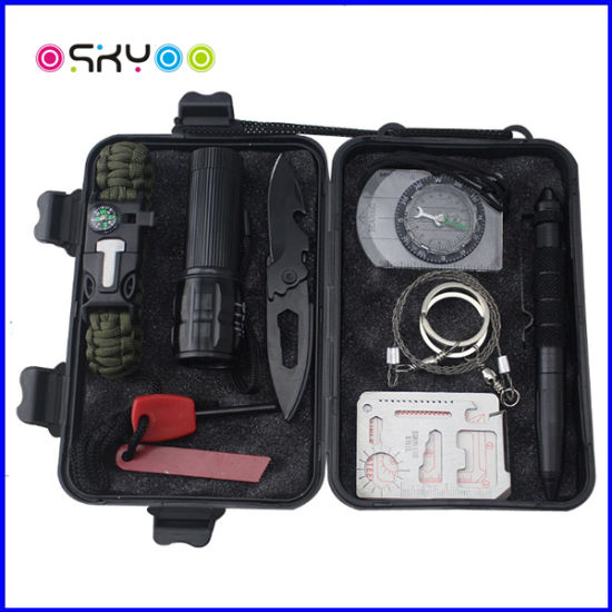 35e183aba9f 10 in 1 Survival Kit Included Outdoor Emergency Camping Tool with Paracord  Bracelet