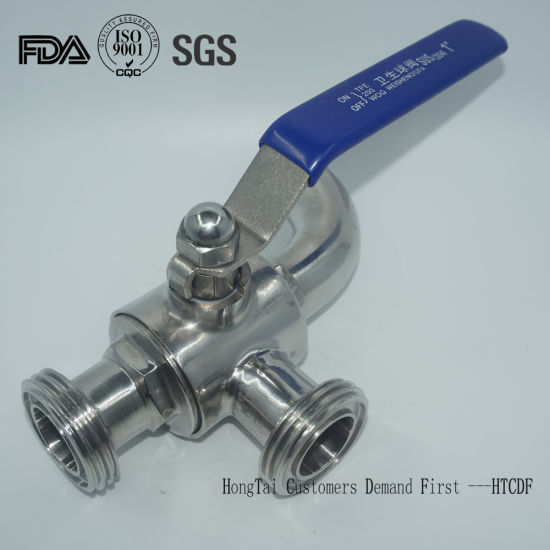 Stainless Steel T Type Three Way Sanitary Ball Valve by Manual
