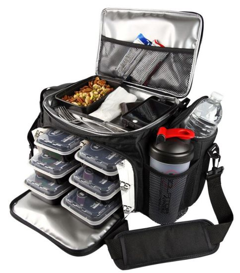 High Quality Black 6 Pack Lunch Fitness Meal Prep Bag
